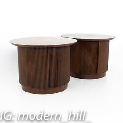 Lane First Edition Mid Century Round Cabinet End Tables - A Pair - Vintage Mcm