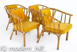 Mid Century Rattan Dining Chairs - Set Of 4 - Vintage Mcm
