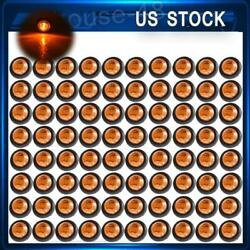 80x 3/4inch Amber 12v Led Clearance Marker Round Bullet Truck Trailer Light