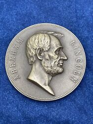 Vintage Us Mint Abraham Lincoln 1861 1865 Inaugural Medal 3inch Bronze Z478