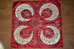 Antique Tablecloth Ottoman Islamic Tapestry Silk Metlalic Gold Silver Embroidery