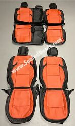 2020 2021 Jeep Gladiator Custom Tangerine Leather Seat Covers - Overland And Sport