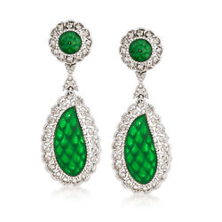 Vintage Jade And Diamond Clip-on Drop Earrings In 18kt White Gold