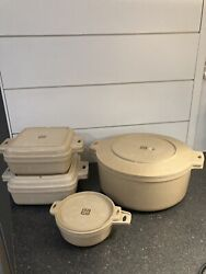 Vintage Littonware Cookware 8 Pc Microwave 2 Cup, 1 And 1.5 Qt, 5 Qt With Lids