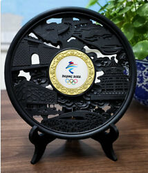 2022 Beijing Winter Olympic Activated Charcoal Carving Gold Jade Emblem Statue