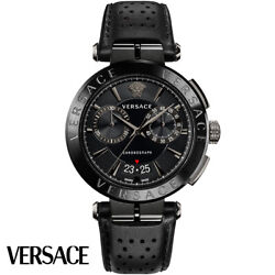 Versace Ve1d01420 Aion Chronograph Black Leather Menand039s Watch New