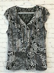 Style And Co Womens Size Xl Black White Ruffled Lace Accent Short Cap Sleeve Shirt