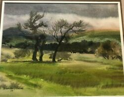 Duncan Alanson Spencer Water Color Painting South Of Gorman 1958, 20x17 Framed