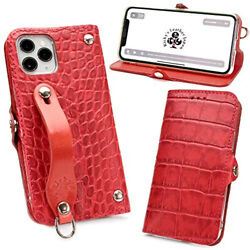 Efgs Iphone 12 Pro Max Notebook Type Case Embossed Croco Red Ms Card Case [left