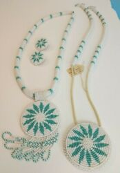 Vintage Native American Apache Hand Beaded Wedding Set 2 Necklaces And Earrings