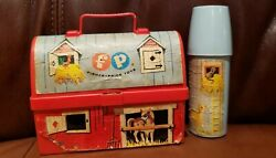 Vintage 1962 Fisher Price Toy Lunch Box Kit + Thermos Farm Barn 549 Complete