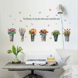 Removable Flowers Potted plants Wall Sticker Room Home Decor Mural Wall Decal SY