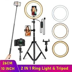 10 Led Ring Light With Tripod For Youtube Tiktok Makeup Video Live Phone Selfie