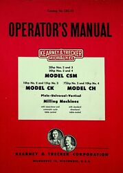 Kearney And Trecker Csm Ck And Ch Plain Universal And Vertical Mills Manual