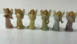 Chalkware Angels Ornaments Italy Lot Of 6 Angels
