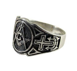 Handcrafted Solid 925 Sterling Silver Menand039s Freemason Masonic Ring