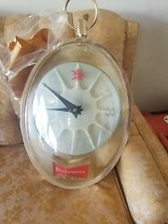 1950's Budweiser Hanging Lighted Clock Duck In Flight Motion Rotating Sign