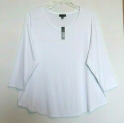 The Limited White Jersey Knit Top, 3/4 Sleeve, Scoop Neck, Sizes 1x, 2x Nwt
