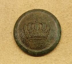 Nice Old Original Ww1 German Prussian Imperial Army Uniform Button With Crown