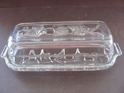 Hazel Atlas Ivy Clear Butter Dish With Lid