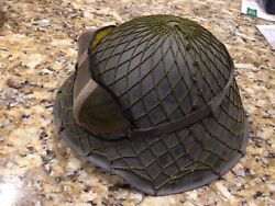 East German Made Military Metal Helmet With Net Camo Cover