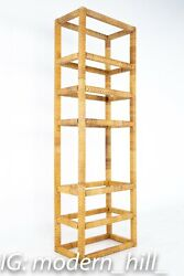 Mid Century Tall Cane And Glass Etagere Shelf - Vintage Mcm