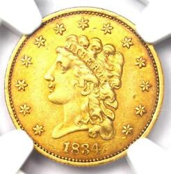 1834 Classic Gold Quarter Eagle 2.50 Coin - Certified Ngc Au55 - High Grade