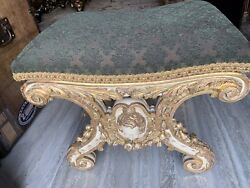 Vintage Bench/ottoman Carved Angel Upholstered In Green Colored Fabric