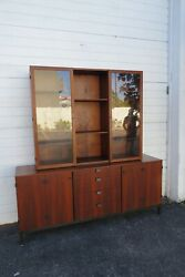 Mid Century Modern 2 Part China Display Cabinet Credenza Sideboard 1986