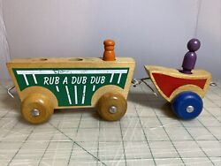 Vintage Early Holgate Wooden Pull Toy Car With 2 People