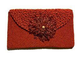 Beaded Clutch Evening Bag Paprika Red Flower Wristlet quot;About Colorquot; brand NEW $39.99