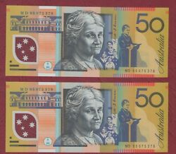 Australian Banknotes 50 Fifty Dollars Fraser/ Evans 1995 Consecutive Pair Unc
