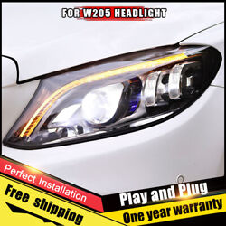 For Benz C-class W205 Headlights Assembly Led Lens Double Beam All Led 2015-2020