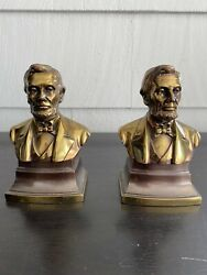 Vintage Abraham Lincoln Statue Philadelphia Mfg Book Ends Paper Weights