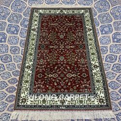 Yilong 3and039x5and039 Red Handmade Silk Rug Interior Design Classic Floral Carpet Yxr330b