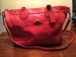 Coach bag genuine red pebbled leather medium size $75.00