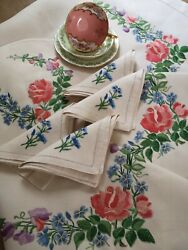 Vintage Hand Embroidered Irish Linen Tablecloth Tray Cloth And Cosy Roses