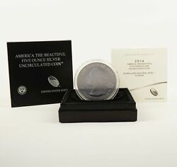 2014-p America The Beautiful Everglades 5ozt Silver Coin - Free Shipping Usa