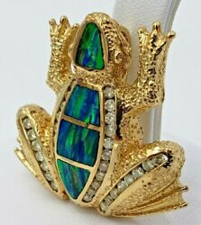Frog Pendant With Diamonds And Opal 14 Kt Yellow Gold