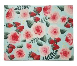 Tropical Strawberries Flowers Acrylic Painting Wall Art Canvas Home Decor Floral