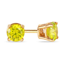 1/2 Ct Yellow Gold Round Cut Diamond Solitaire Stud Earrings In 14k Gold