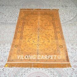 Yilong 4and039x6and039 Handknotted Silk Carpet Gold Home Office Antique Rugs Mc659b