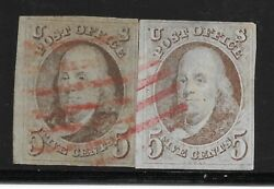 Us 5c 1847 Pair Housatonic Railroad Red Route Agent Marking Rarity