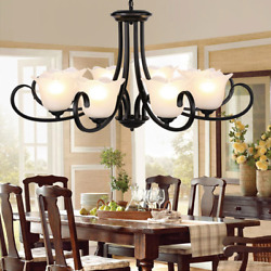 8-lights Retro Wrought Iron chandelier Vintage Glass Shade Ceiling Lamp Fixture