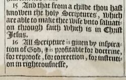 1611 King James Bible Leaf 2 Tim 3. All Scripture Is Given By Inspiration.. And039heand039