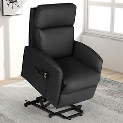Manual Recliner Chair Overstuffed Fabric Arm Back Pinewood Frame Easy Assembly
