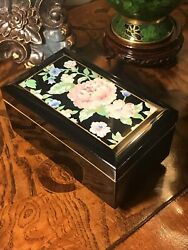 Japanese Floral Black Lacquer Music Box/jewelry Box