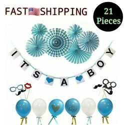 21pcs - Itand039s A Boy - Baby Shower Decorations Ballons Photo Booth Props Bunting