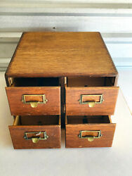 Vintage 4 Drawer Wood Library Cabinet Drawers Yawman And Erbe Nice Please Read