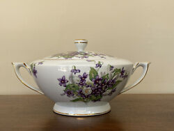 Mikado Occupied Japan Beverly Violet Round Covered Vegetable Bowl